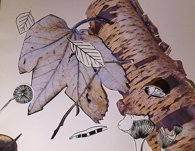 4a Ahornblatt mit stilisierten Blättern und Pilzen